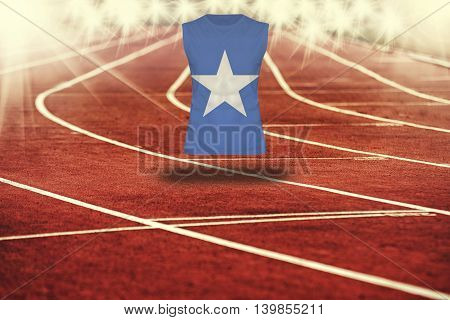 Red Running Track With Lines And Somalia Flag On Shirt