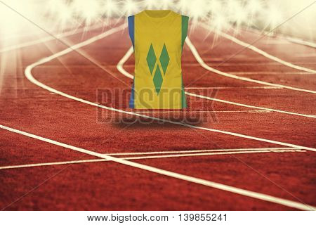 Red Running Track With Lines And St Vinc & Grenadines Flag On Shirt