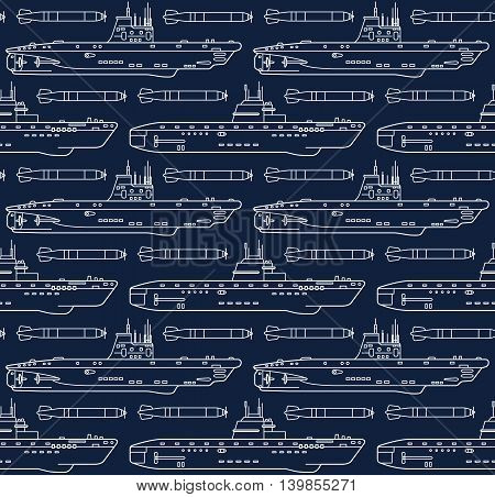 Seamless vector pattern with submarines and torpedoes. Can be used for graphic design textile design or web design.