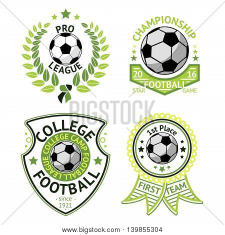 Set of green vintage Football labels. With laurel wreath, ball, shield and ribbons.