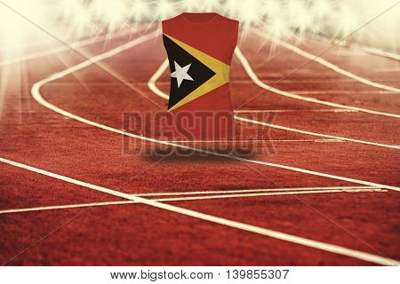 Red Running Track With Lines And Timor-leste Flag On Shirt