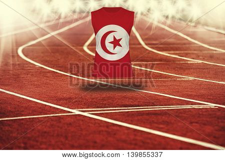 Red Running Track With Lines And Tunisia Flag On Shirt