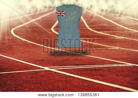 Red Running Track With Lines And Tuvalu Flag On Shirt
