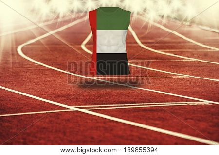 Red Running Track With Lines And United Arab Emirates Flag On Shirt
