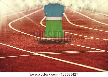 Red Running Track With Lines And Uzbekistan Flag On Shirt