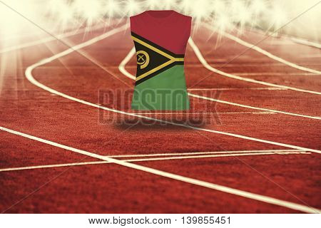 Red Running Track With Lines And Vanuatu Flag On Shirt