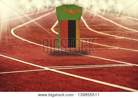Red Running Track With Lines And Zambia Flag On Shirt