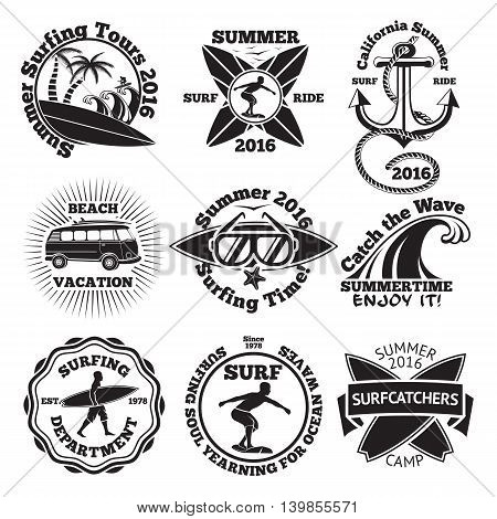Set of vintage surfing labels with - surfboard, surfer, palms, anchor, sunglasses, wave etc. Vector illustration