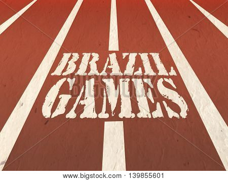 Stylish Text Brazil Games written on running track, Sports Poster, Banner or Flyer design for Summer Concept.