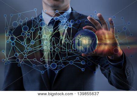 Businessman in globalisation global business concept