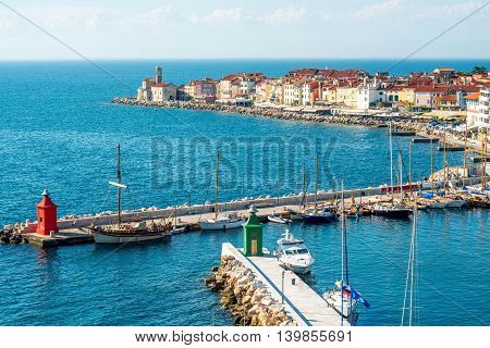 Aerial view on the gulf of Piran town on the Adriatic sea