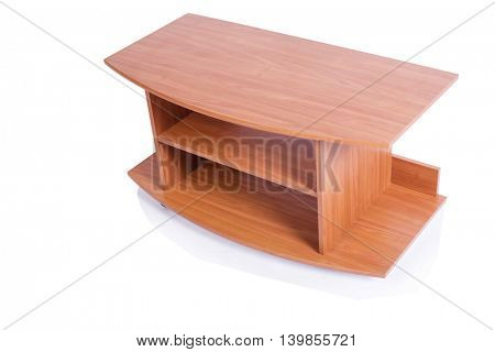 Wooden TV stand isolated on white background