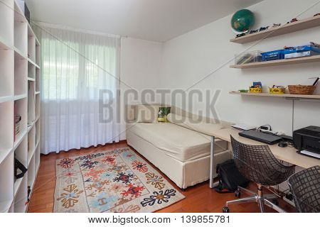Interior, room studio of house, white walls and parquet