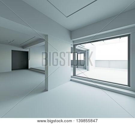 white walls loft interior frame. 3d rendering