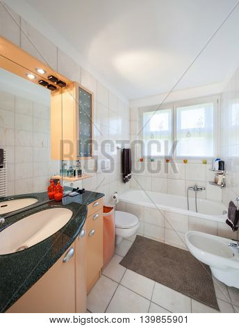 Interior of apartment, domestic bathroom