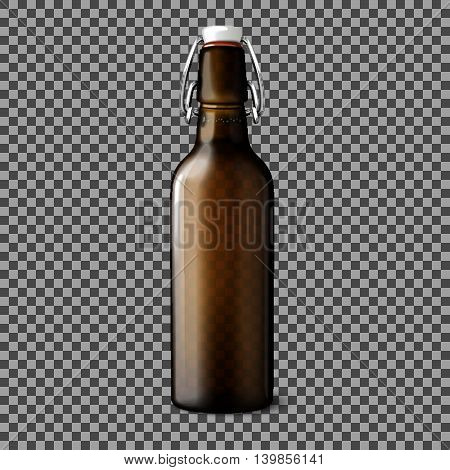 Blank transparent brown realistic beer bottle isolated on plaid background with place for your design and branding. Vector illustration