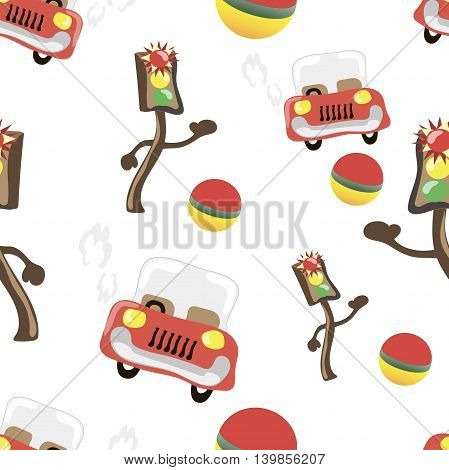Shining, light and car, seamless Cartoon vector illustration