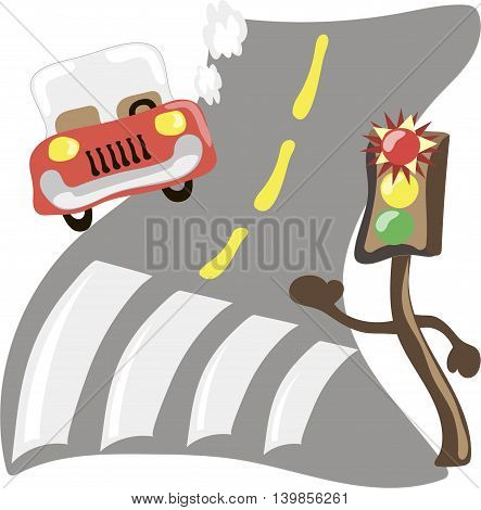 Shining traffic light and car in the forest road. Cartoon vector illustration 10