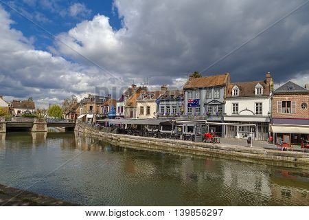 embankment of Somme river in Amiens France