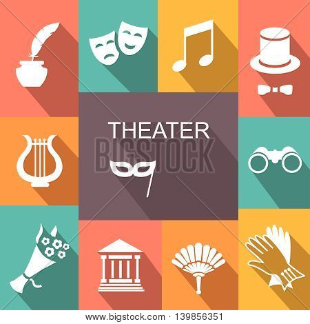 Theater acting icons set white illustration with shadow