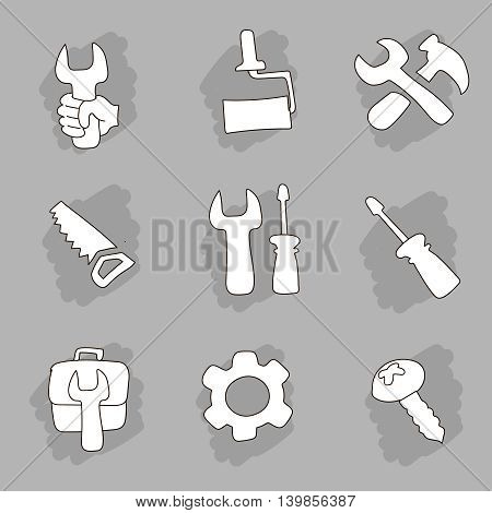 Repair and construction working tools hand drawn icons set