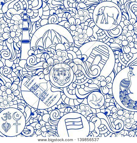 Creative hand drawn doodle ornamental seamless pattern with Indian National Symbols, Monuments and Religion Symbols, Vector illustration for Independence Day and Republic Day celebration.