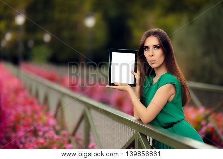 Surprised Woman Showing a Digital Tablet Display