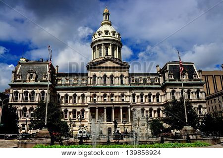 Baltimore Maryland - July 23 2013 City Hall begun in 1867 built in Second Empire style with its Mansard roofs and center dome with oculi windows