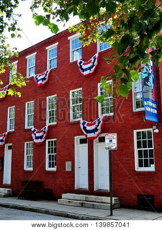 Baltimore Maryland - July 23 2013: The Babe Ruth Birthplace and Museum at 216 Emory Street