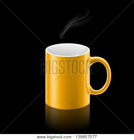 Yellow office mug with a small stream of smoke above it on black background.
