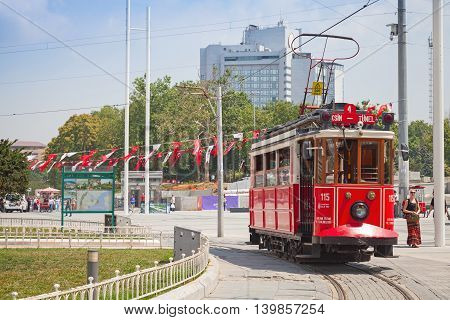 Vintage Red Tram Goes On Taksim Square