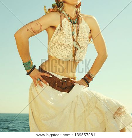 Fashion female neck and hands with boho chic style 