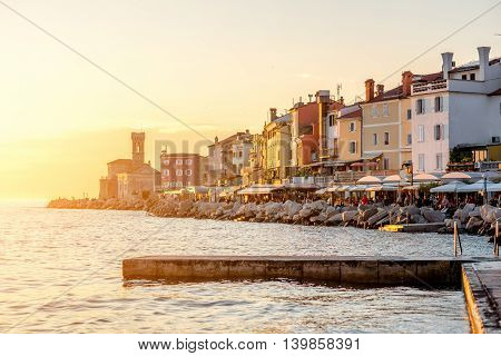 Beautiful sunset view on Piran coastal town in Slovenia