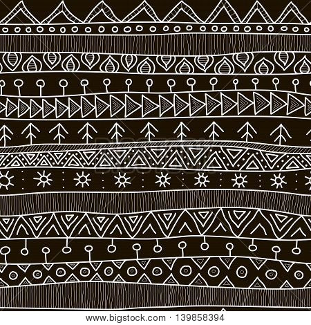 Tribal Black And White Seamless Pattern, Indian Or African Ethnic Patchwork Style