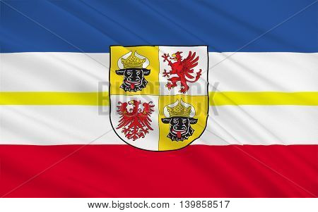 Flag of Mecklenburg-Western Pomerania is a federated state in northern Germany. 3d illustration
