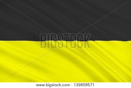 Flag of Aachen town in North Rhine-Westphalia Germany. 3d illustration