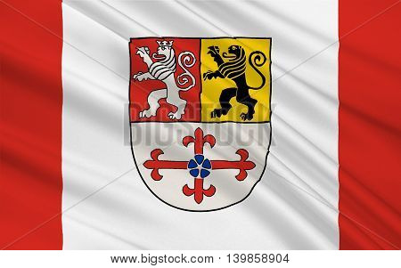 Flag of Heinsberg is a district in the west of North Rhine-Westphalia Germany. 3d illustration