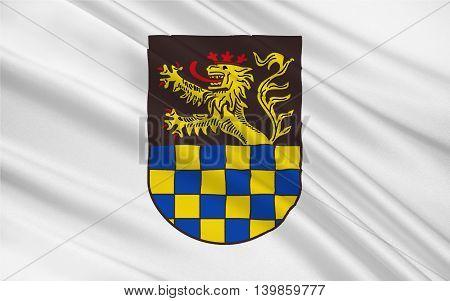 Flag of Bad Kreuznach is a district in Rhineland-Palatinate Germany. 3d illustration