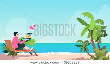 Business Man Freelance Remote Working Place On Sunbed Businessman Using Laptop Beach Summer Vacation Tropical Island Flat Vector Illustration