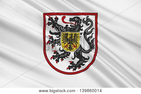 Flag of Landau in der Pfalz is an autonomous town of southern Rhineland-Palatinate Germany. 3d illustration