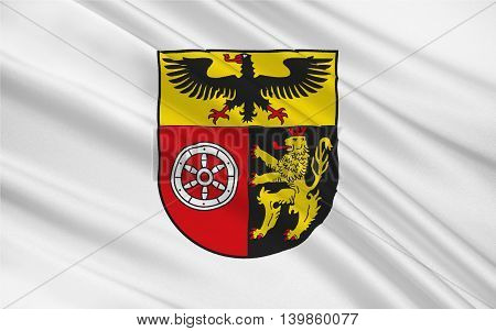 Flag of Mainz-Bingen is a district (Kreis) in the east of Rhineland-Palatinate Germany. 3d illustration