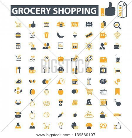 grocery shopping icons