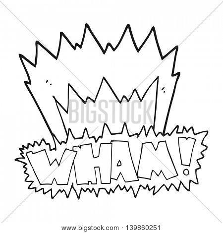 freehand drawn black and white cartoon wham! symbol