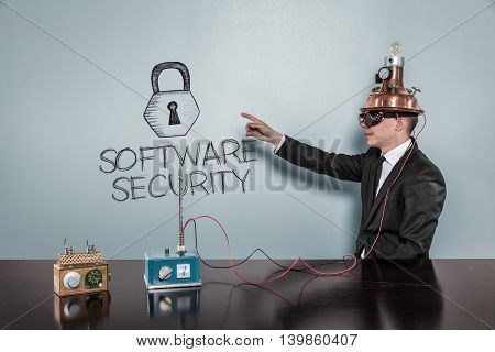 Software Security concept with vintage businessman pointing hand