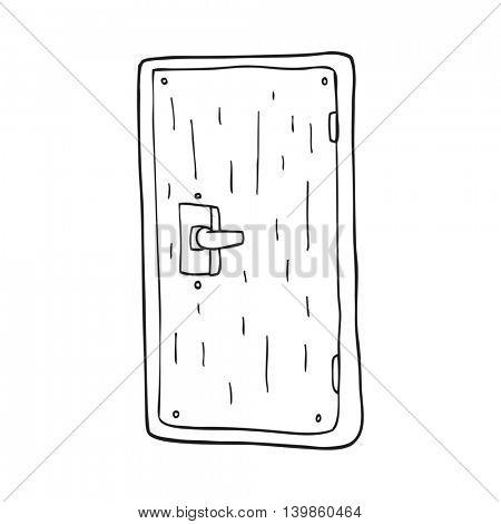 freehand drawn black and white cartoon door