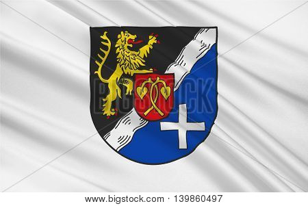 Flag of Rhein-Pfalz-Kreis is a district (Kreis) in the east of Rhineland-Palatinate Germany. 3d illustration