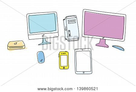 Doodle drawing of colored gadgets on white