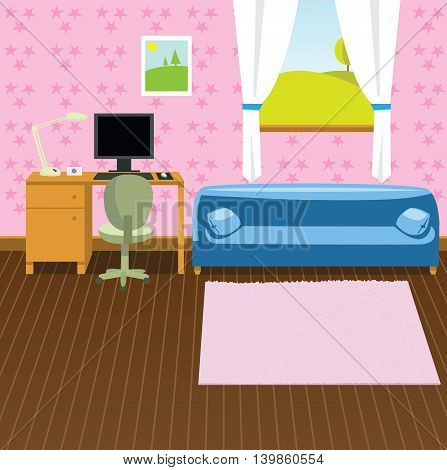 Cartoon colorful interior with furniture game background