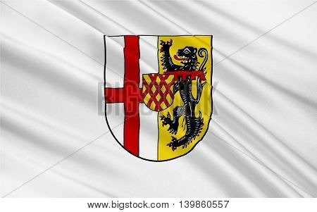 Flag of Vulkaneifel is a district in the northwest of the state Rhineland-Palatinate Germany. 3d illustration
