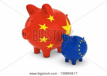 Chinese Flag And Eu Flag Piggybanks Exchange Rate Concept 3D Illustration
